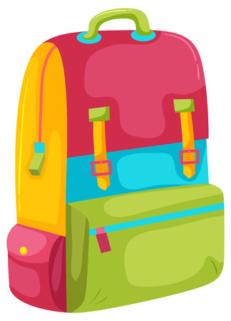 Illustration for A Colourful Backpack on White Background illustration - Royalty Free Image