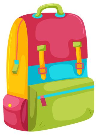 Photo pour A Colourful Backpack on White Background illustration - image libre de droit