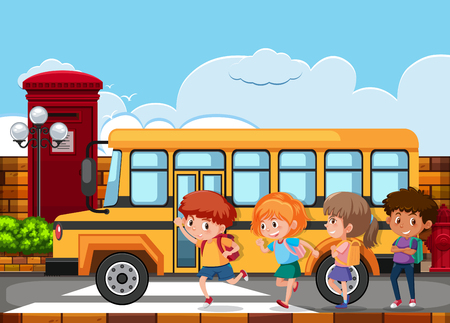 Illustration pour Children running to get on the school bus illustration - image libre de droit