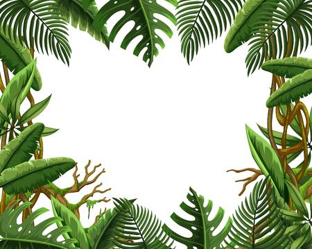 Illustration for Blank jungle leave frame illustration - Royalty Free Image