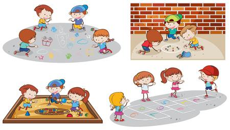 Set of children playing illustration