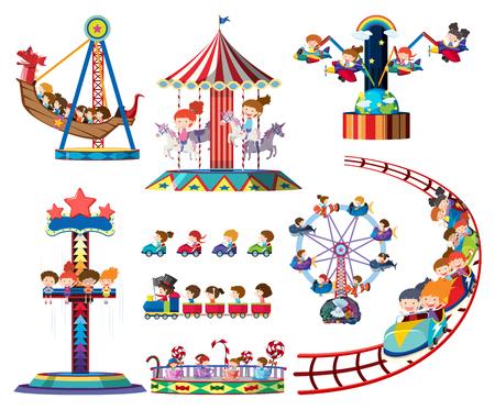 Illustration for A set of theme park rides illustration - Royalty Free Image