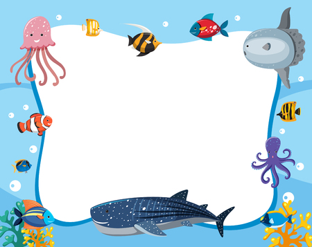 Illustration pour An underwater animals border illustration - image libre de droit