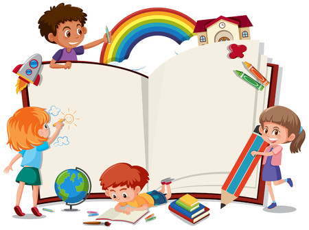 Illustration for Children on the blank book illustration - Royalty Free Image