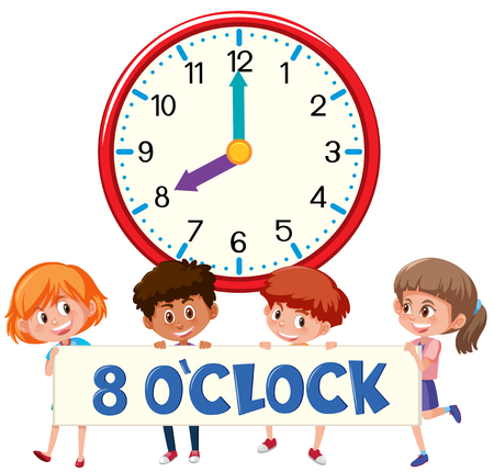 Illustration pour Eight o'clock with children  illustration - image libre de droit