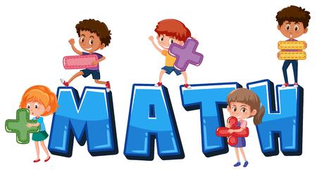 Ilustración de Children holding math symbols illustration - Imagen libre de derechos