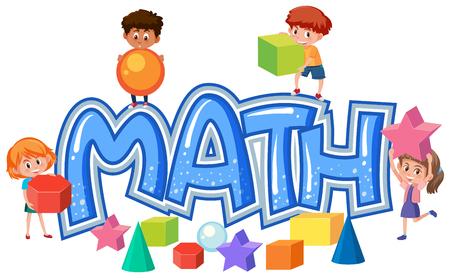 Ilustración de Group of children on math icon illustration - Imagen libre de derechos