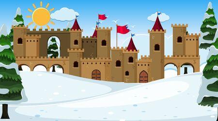 Illustration pour An outdoor scene with castle illustration - image libre de droit