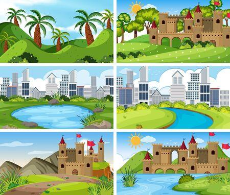 Illustration pour A set of outdoor scene including building illustration - image libre de droit