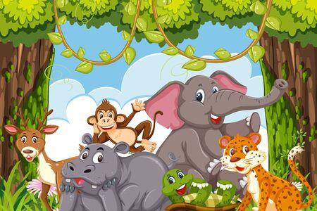 Illustration pour Jungle animals in a forest claring illustration - image libre de droit