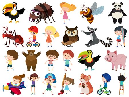 Illustration for Set of isolated objects theme kids and animals illustration - Royalty Free Image