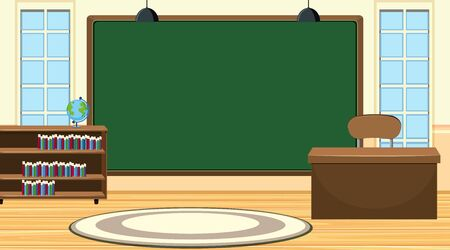 Illustration pour Scene with big chalkboard and teacher desk illustration - image libre de droit