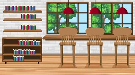 Illustration for Scene with high chairs and books in the room illustration - Royalty Free Image