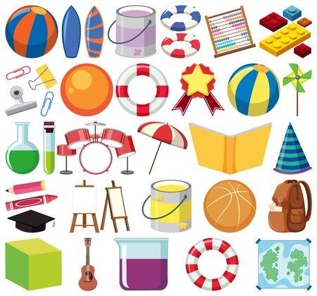 Illustration pour Set of isolated objects theme school illustration - image libre de droit