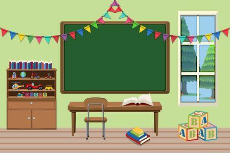 Illustration pour Classroom with desk and board illustration - image libre de droit