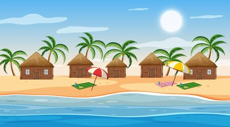 Illustration pour Scene with little huts on the beach at day time illustration - image libre de droit