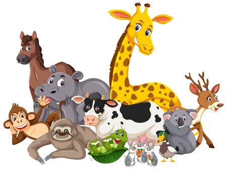 Different types of wild animals on white background illustration ...