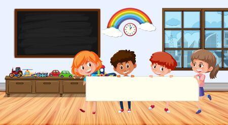 Illustration pour Frame design with board and kids  illustration - image libre de droit