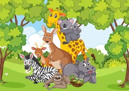 Foto de Scene with many wild animals in the park illustration - Imagen libre de derechos