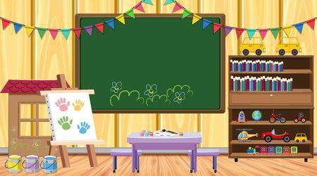 Illustration pour Classroom with chalkboard and bookshelf illustration - image libre de droit