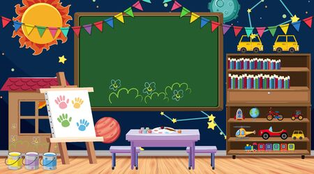 Illustration pour Back to school sign with many school items in classroom illustration - image libre de droit