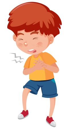 Illustration for Sick boy with chest pain on white background illustration - Royalty Free Image