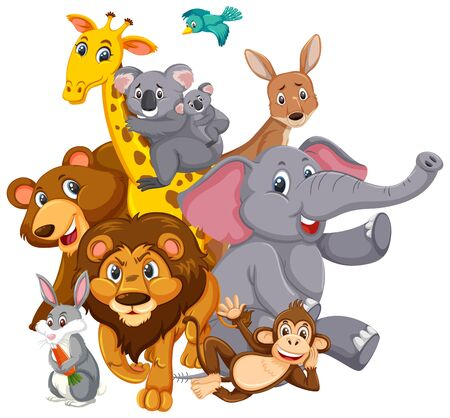 Illustration pour Many wild animals with happy face on white background illustration - image libre de droit