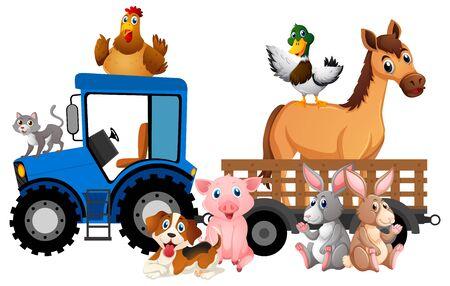 Photo pour Many farm animals riding tractor on white background illustration - image libre de droit