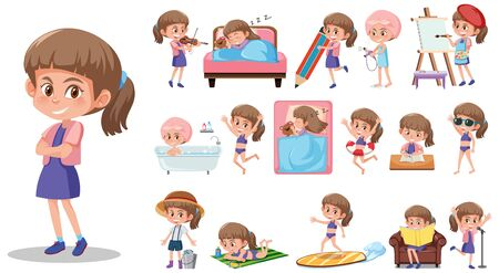 Illustration for Set of kid character with different expressions on white background illustration - Royalty Free Image