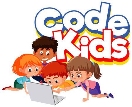 Illustration for Font design for word code kids with children working on computer illustration - Royalty Free Image