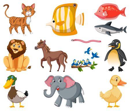 Vektor für Large set of different types of animals on white background illustration - Lizenzfreies Bild
