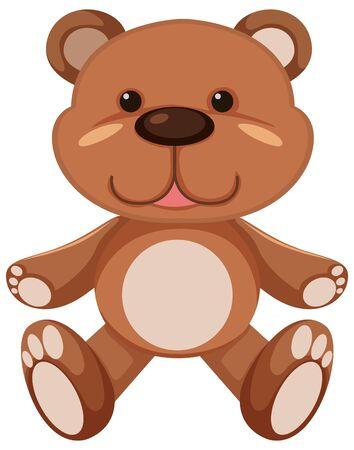 Illustration pour Brown teddy bear on white background illustration - image libre de droit
