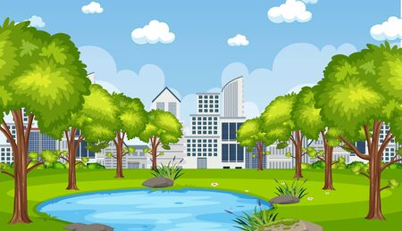 Illustration for Background scene with city builsing and pond in the park illustration - Royalty Free Image