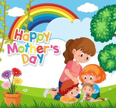 Illustration pour Template design for happy mother's day with mom and children in the park illustration - image libre de droit