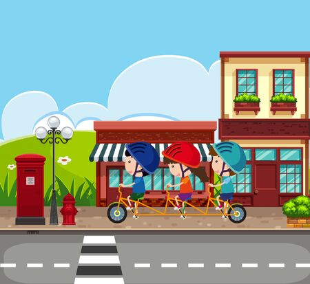 Illustration for Background scene with kids riding bike on the sidewalk illustration - Royalty Free Image