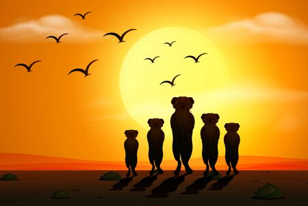 Illustration for Silhouette scene with meerkats at sunset illustration - Royalty Free Image