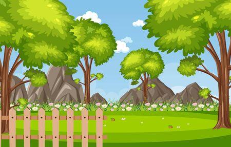 Illustration pour Background scene with trees in the park illustration - image libre de droit
