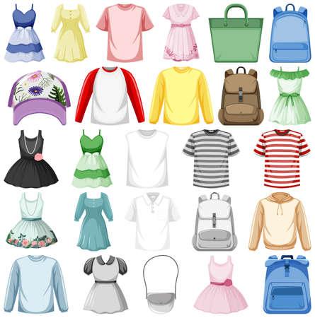 Illustration pour Set of fashion outfits illustration - image libre de droit