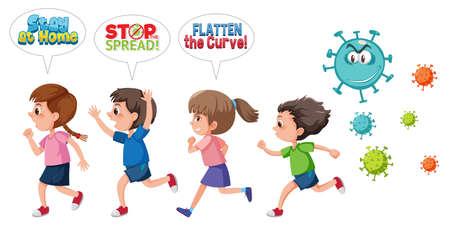 Illustration for Children run away from coronavirus illustration - Royalty Free Image