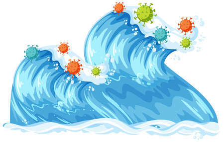 Illustration pour Two ocean waves with coronavirus icon isolated illustration - image libre de droit
