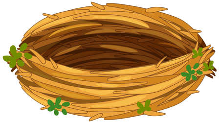 Illustration pour Isolated empty bird nest on white background illustration - image libre de droit