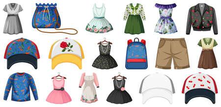 Illustration for Set of fashion outfits illustration - Royalty Free Image