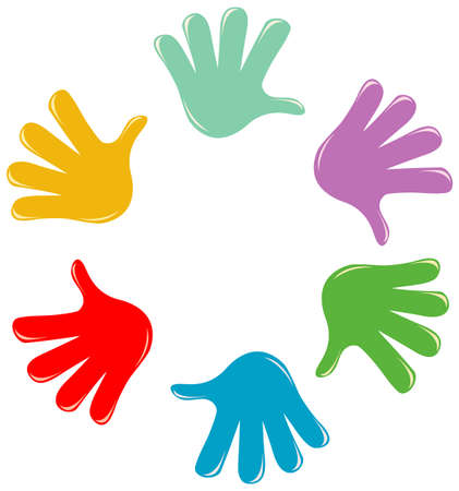 Illustration for Set of different color hands isolated on white background illustration - Royalty Free Image