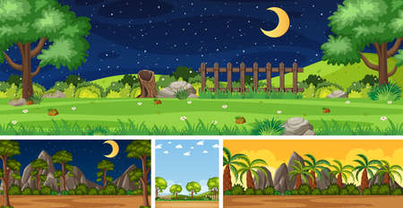 Illustration pour Four background different nature scenes with green trees in different times illustration - image libre de droit