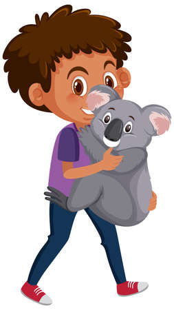 Illustration pour Boy holding cute animal cartoon character isolated on white background illustration - image libre de droit
