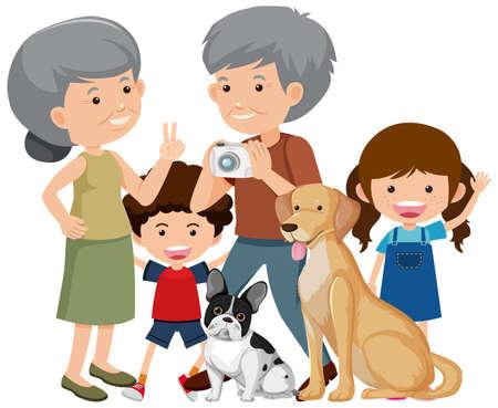 Vektor für Family members with their pet dog on white background illustration - Lizenzfreies Bild