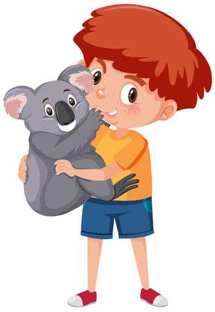 Ilustración de Boy holding cute animal cartoon character isolated on white background illustration - Imagen libre de derechos
