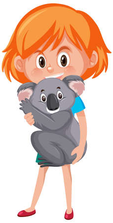 Illustration pour Girl holding cute animal cartoon character isolated on white background illustration - image libre de droit