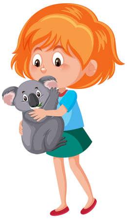 Ilustración de Girl holding cute animal cartoon character isolated on white background illustration - Imagen libre de derechos