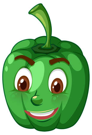 Illustration for Capsicum cartoon character with facial expression illustration - Royalty Free Image